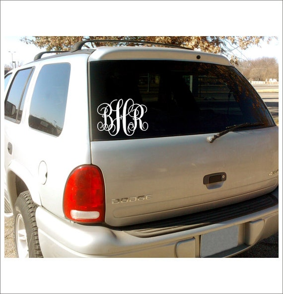 Vine Monogram Car Window Decal Personalized Custom Vinyl Decal - Car window vinyl decals custom