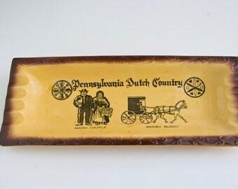 Vintage Pennsylvania Dutch Country Souvenir Ashtray, Vintage Amish Ashtray, MId Century Travel Souvenir
