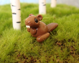 Tiny Clay Beaver- Polymer Clay, Brown