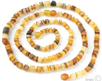 Raw Unpolished Baltic Amber Baby Teething Set for Baby and Mommy. Tube Shape Amber Beads