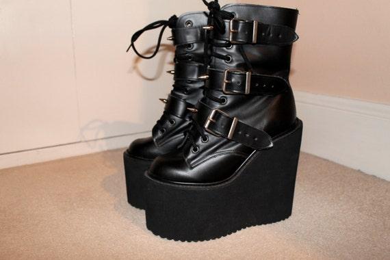 Grunge Goth Chunky Platform Custom Spike Ankle Boots UK 3 / US 5.5