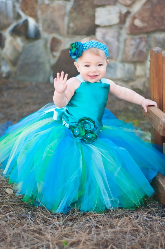 Items similar to mermaid ocean theme flower girl tutu for Ocean themed wedding dress