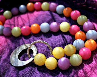 """Chunky Colorful Beaded Costume Necklace """"Emotional Experience"""" - Ecofriendly, Upcycled, Womans Necklace"""