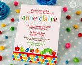 DIY PRINTABLE Invitation Card - Caterpillar Baby Shower Invitation - BS820CA1a1