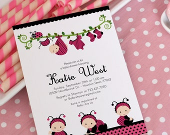 DIY PRINTABLE Invitation Card - Pink Lady Bug Baby Shower Invitation - BS815CB2a2