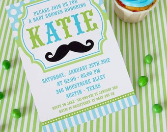DIY PRINTABLE Invitation Card - Little Man Mustache Lime Green Baby Shower Invitation - BS829CA3a1