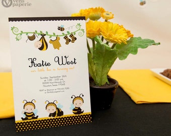 DIY PRINTABLE Invitation Card - Baby Bumble Bee Birthday Party - PS816CB1a2