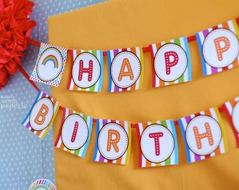 Rainbow Birthday Party - DIY PRINTABLE Happy Birthday Banner - Instant Download - design by venspaperie - PS808CA1e