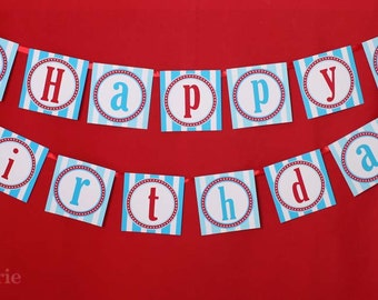 Airplane Birthday Party - DIY PRINTABLE Happy Birthday Banner - Instant Download - design by venspaperie - PS818CA1e