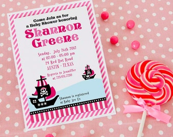 DIY PRINTABLE Invitation Card - Pink Pirate of Caribbean Baby Shower Invitation - BS831CA2a1
