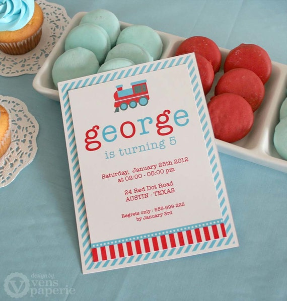 DIY PRINTABLE Invitation Card Vintage Choo-Choo Train