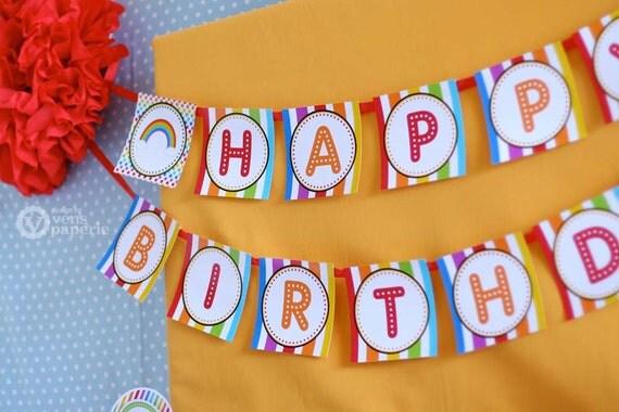 rainbow birthday party diy printable happy birthday banner