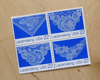 50 pieces - Vintage unused 1987 22 cent Lace Lacemaking stamps - great for wedding invitations, save the dates - extra ounce postage - blues