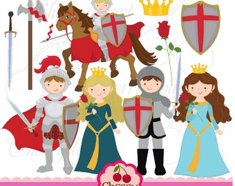 Little Knight and Princess digital clipart set for-Personal and Commercial Use
