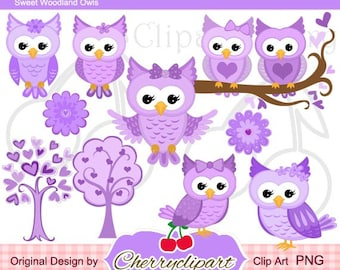 Purple Sweet Owls Digital Clipart Set for-Personal and Commercial Use-paper crafts,card making,scrapbooking,web design