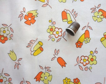 funky floral print vintage cotton blend fabric -- 44 wide by 1/2 yard plus