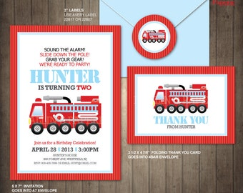 Fire truck birthday printable, customized birthday Invitation - Thank you card - Envelope seal