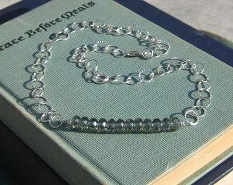 Black Diamond Swarovski Rondelle and Sterling Silver Necklace