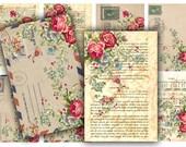 Digital Collage Sheet Download - Roses Ephemera Tags -  398  - Digital Paper - Instant Download Printables