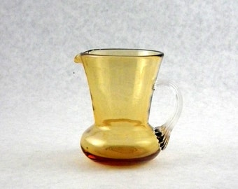 Pilgrim Glass 748 Topaz Reed Handle Pitcher with Smooth Finish - Vintage 1970s Window Glass