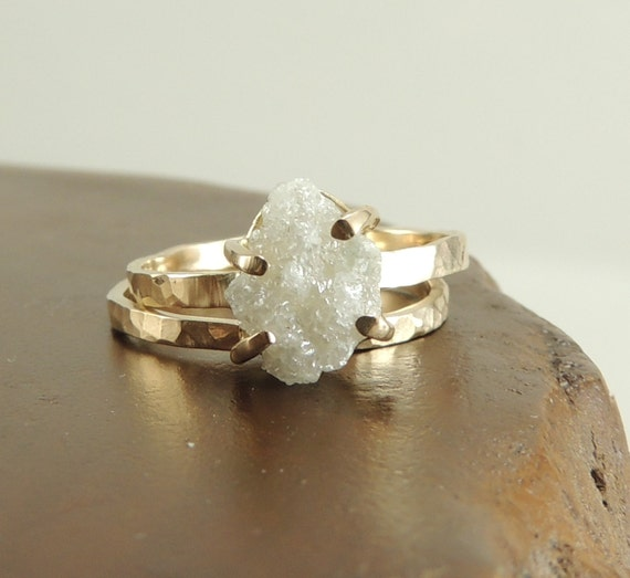 Rough Diamond Rings: Large Rough Diamond Engagement Ring 14k Gold
