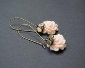 Rose Earrings. Flower and Honey Bee Earrings. Peach Rose and Gold Bee Earrings. Antique Brass. Long Dangle Earrings. Flower Jewelry