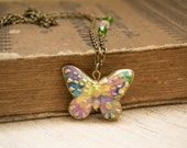 Polymer Clay Butterfly Necklace. Colorful Butterfly Pendant. Antique Brass Swarovski Crystal Beaded Chain. Handmade Jewelry