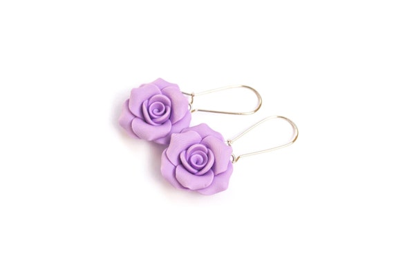 Polymer Rose Flower Earrings.Polymer Clay Purple (Lilac) Dangle Drops. Purple Jewelry. Bridesmaid Gifts. Handcrafted Floral Earrings