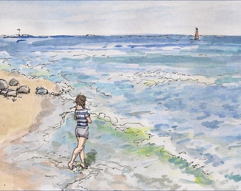 Fine art woman at Mantuck beach signed art print landscape brunette girl on the water painting Rhode Island New England Giclee size 8.5x11