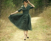 1950s French Style Dress - Emerald Green / XSM