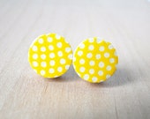 Yellow Stud Earrings, White Polka dots earrings, Citrus Yellow, Gift under 10, For Her, Birthday, Bridesmaids,