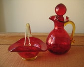 Red Amberina Pair of Vintage Collectibles/ Amberina Glass Basket/ Amberina Cruet/ Christmas Gift