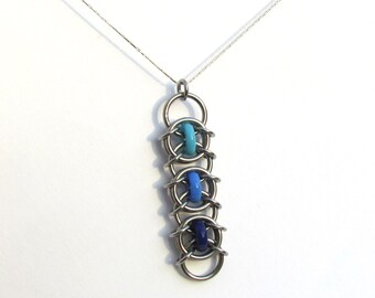 Chain Mail Pendant, Blue Pendant, Glass Pendant. Stainless Steel and Opaque Blue Glass Jewelry