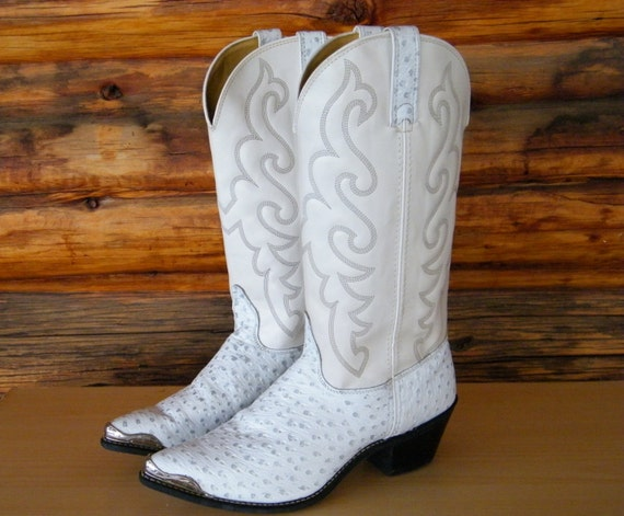 Women's Texas Brand Leather White/Silver Cowboy Boots