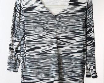 90s TV Static Print Thin Silk V-Neck Sweater