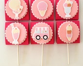 Ice cream party themed  lollipop candy favors (set of 12)