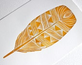 Feather Watercolor Painting - One Golden Feather - Archival Print
