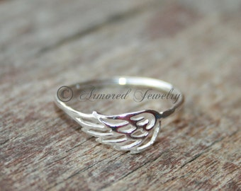 Angel wing ring 1 - Sterling silver Angels - Dainty - Simple - Delicate - Silver angels - Heaven angel - Heavenly - Angel wing Ring Jewelry