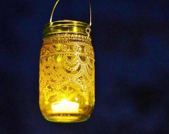 Mason Jar Lantern, Morrocan Style Silver Detailing on Lime Green Glass
