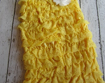 You Are My Sunshine - Yellow Lace Ruffle Petti Romper with white flower embellishment Newborn Baby