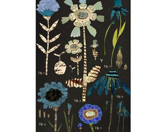 large botanical chart, blue variations, mixed media print