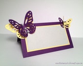 Escort Place Table Name Card Pearl Paper, Swarovski Crystals and Butterfly - Purple, Yellow, Grey