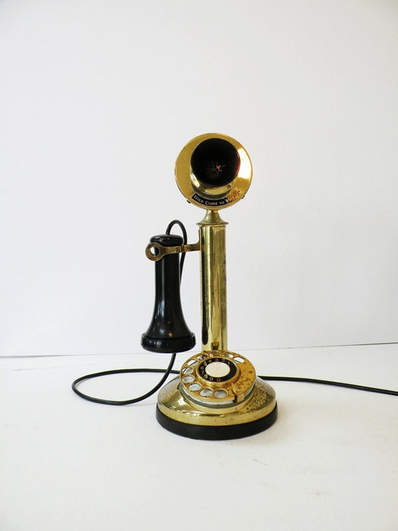 Black Amp Gold Vintage Candlestick Telephone By Heartkeyologie