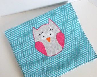 Bright Blue Polka Dot and Owl Quilted Blanket Baby Girl