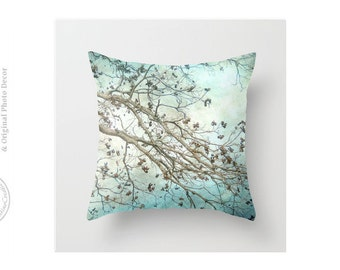 Sea Foam Blues Teal Pecan Branches Abstract Minty Blue Pillow Cover Throw Pillow Cover
