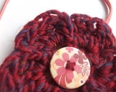 Purple Pink Elastic Headband with Flower: stretchy elastic headband with purple flower, wooden button