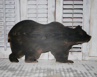 Wooden Bear Sign Rustic Log Cabin Wall Decor Country Home Decor SALE