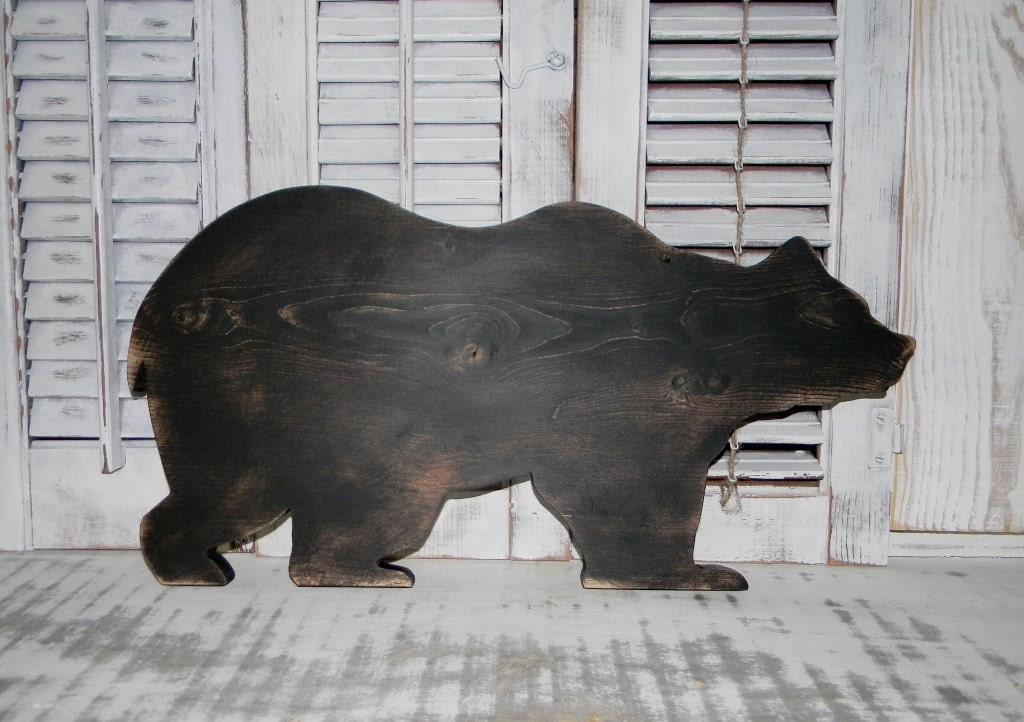 Wooden bear sign bear wall hanging rustic log cabin wall decor for Rustic bear home decor