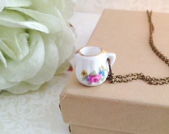 Miniature Porcelain Pitcher Necklace. Tea Party. Floral. Pink Rose. Gold. Whimsical. Doll House. Brass. Vintage Style.