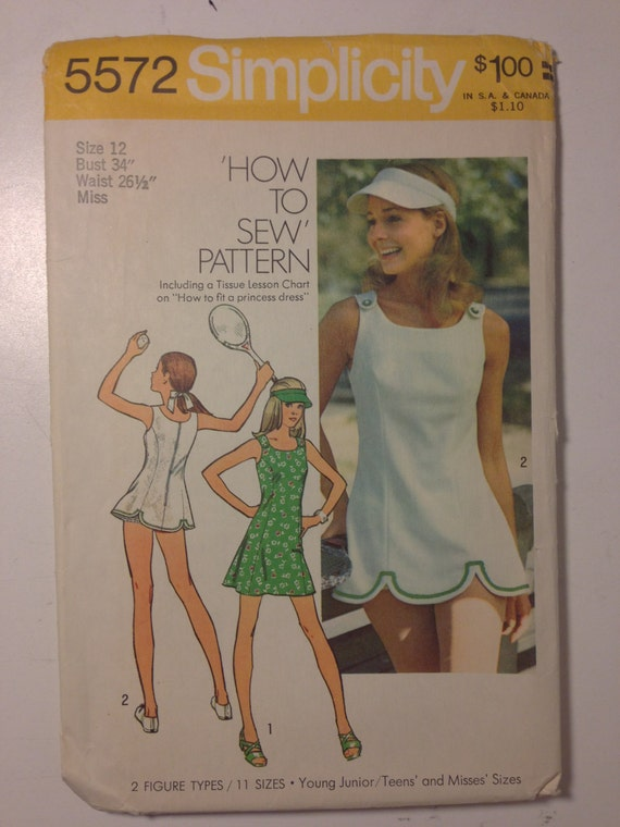 Simplicity Sewing Pattern Vintage 70s 5572 Junior/Teens and Misses Dress in Two Lengths, Panties and Visor Size 12